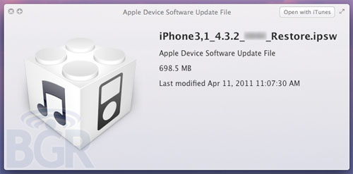 iPhone iPad iOS 4.3.2 BGR update