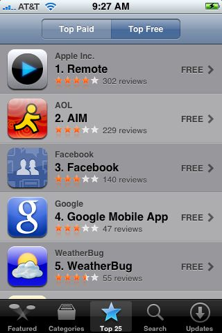 free apps in the iphone appstore