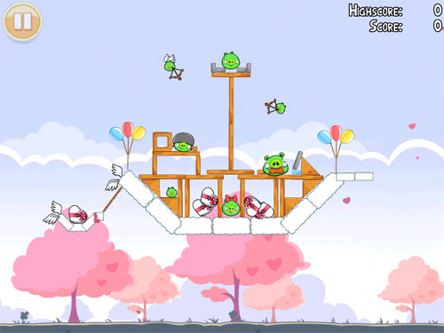 apple iphone app Angry Birds Seasons valentines day