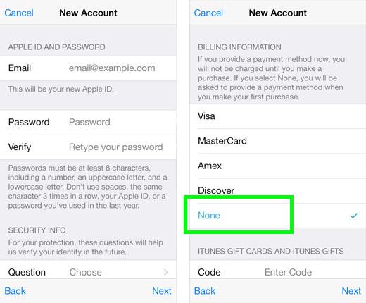 iphone 5s create new apple id