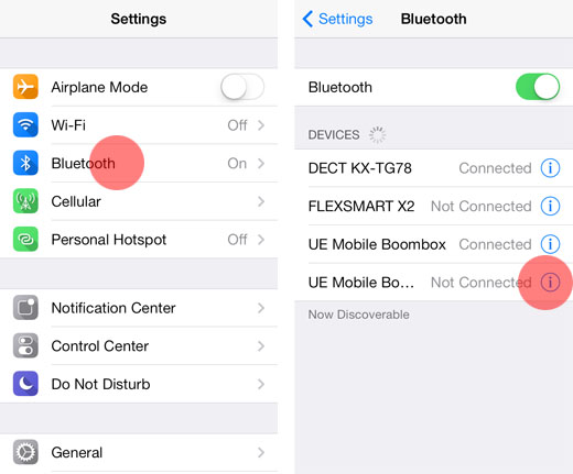 iOS 7 remove paired Bluetooth device1