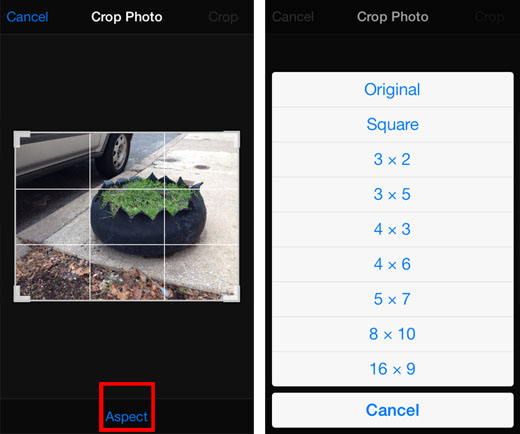 iOS 7 crop photo tutorial 2