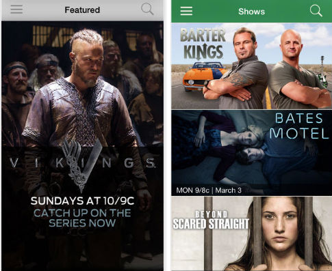 A&E and History Channel iOS Apps