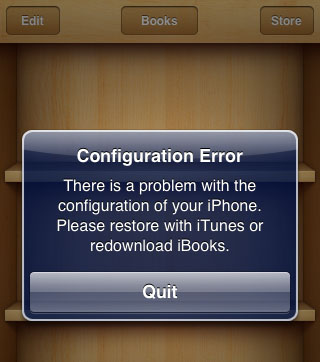 iOS 5.0.1 jailbreak iBooks error
