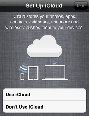 opt out of iCloud iPhone restore iOS 5