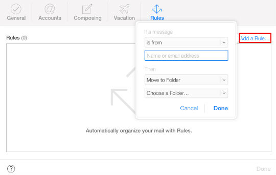 How to create rules for your iCloud email.