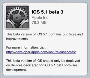 iPhone iOS 5.1 beta 3