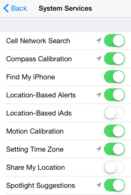 "privacy iOS 8 iPhone system services""  title="