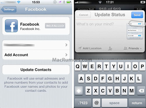 iOS 5 iPhone Facebook integration