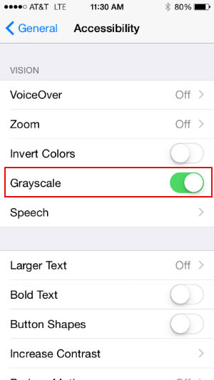 Change to black and white in iOS 8