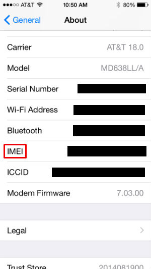Where to find your iPhone IMEI number.