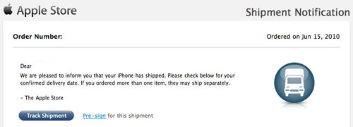 apple iphone 4 pre-order shipping