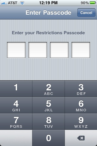 enable restriction password