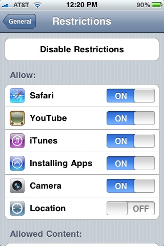 restriction location services