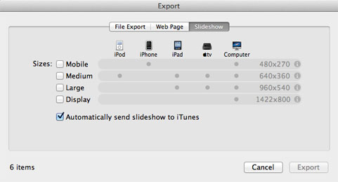 export images with iPhoto 5