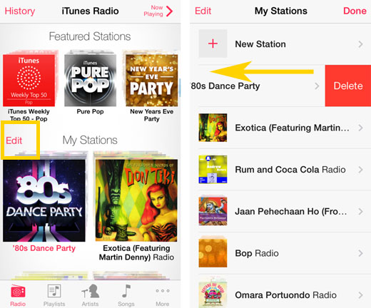 delete custom station iTunes Radio