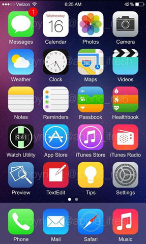 Ios 8 Home Screen Leaks Textedit Watch Utility And More