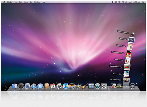 screen shot of os x leopard desktop showing file stacks