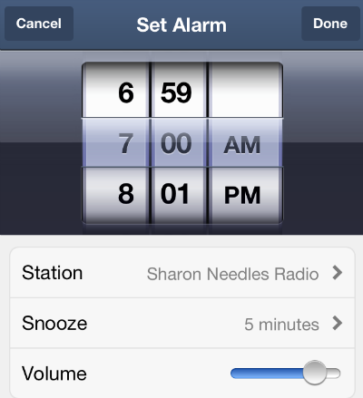 pandora radio app redesigned for ios 7 adds alarm clock option the iphone faq. Black Bedroom Furniture Sets. Home Design Ideas