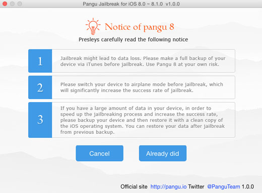 iOS 8.1 jailbreak Pangu OS X instructions4
