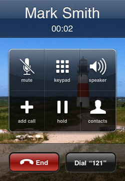 wait dial extension button iphone