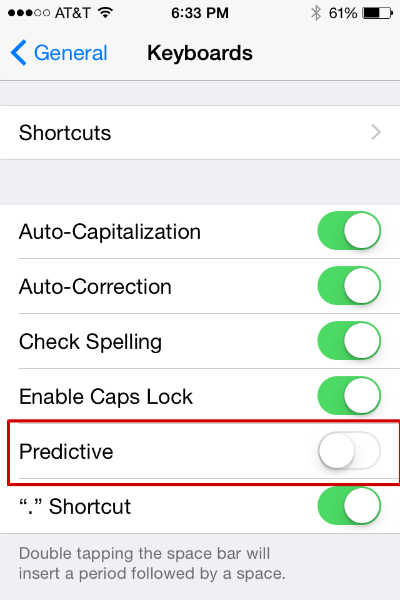 Disable Predictive Keyboard
