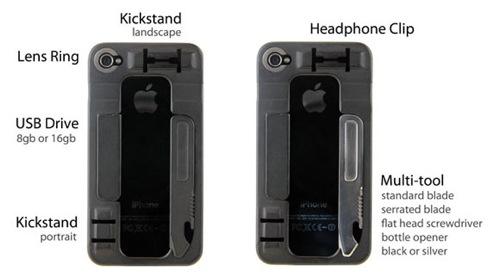 Iphone case with bottle opener and knife
