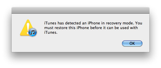 iPhone in recovery mode iTunes