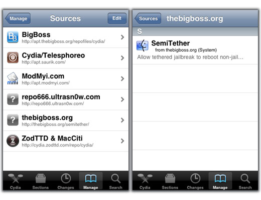 SemiTether package iOS 5 jailbreak step 4