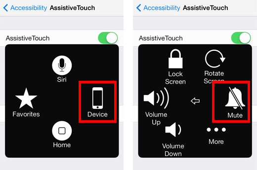 iOS 7 Assistive Touch Mute