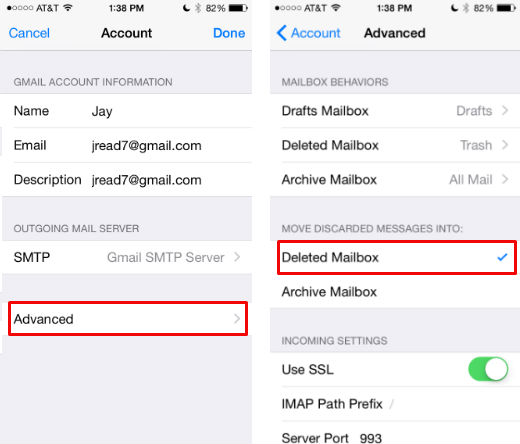 How to set Trash as a swipe option in iOS 8.