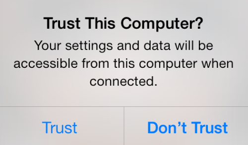 iPhone Trust This Computer Message