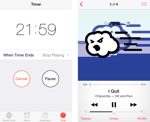 music sleep timer iOS built-in