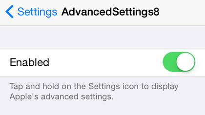 "iOS 8.1 jailbreak settings toggle""  title="