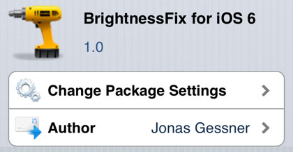 BrightnessFix tweak Cydia iOS 6