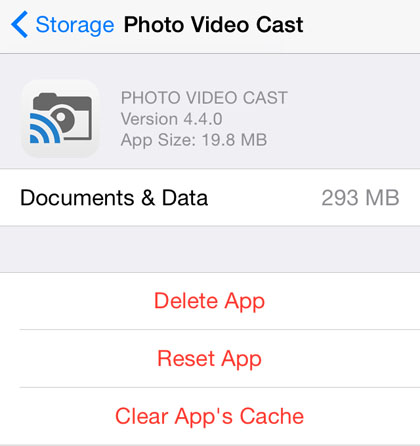 how to clear iphone app cache