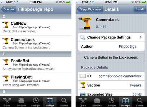 CameraLock Cydia tweak install