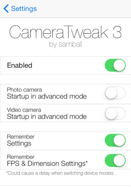 iOS 8.1 jailbreak CameraTweak 3 settings