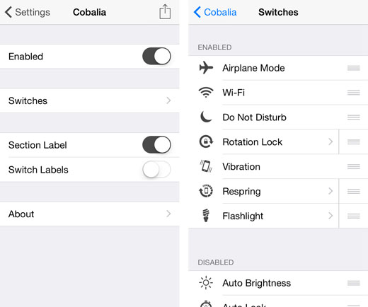 "iOS 8.1 jailbreak custom switcher toggles""  title="
