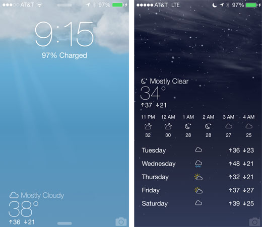 Display current weather on the ios 7 lock screen the for Application iphone temperature interieur