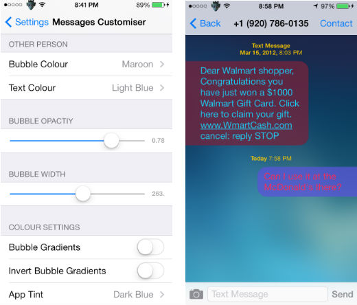 Change The Appearance Of Your Messages With Messages Customiser Tweak The Iphone Faq