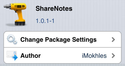 ShareNotes tweak Cydia iOS