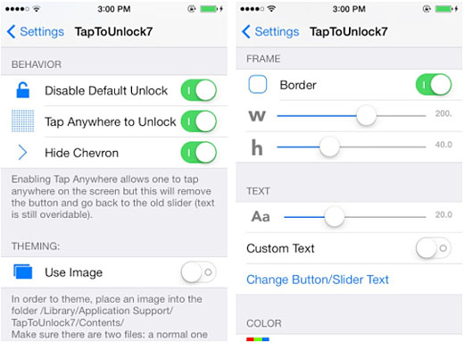 iOS 7 jailbreak unlock tweak settings