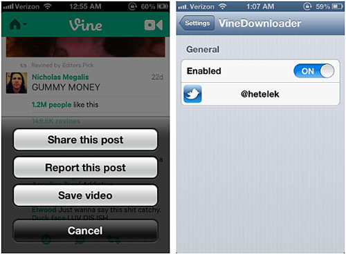 Vine Downloader tweak Cydia iOS