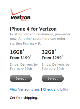 pre-order the verizon iphone now