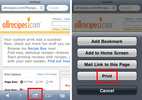 apple iphone ios 4.2 airprint safari