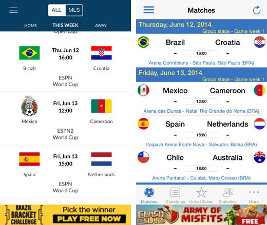 Live World Cup results